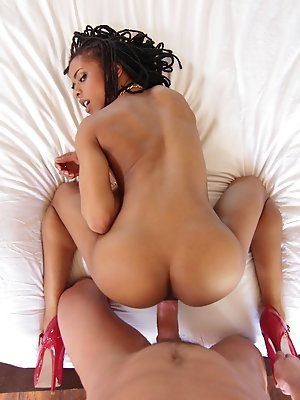 Hot stylish Black girl teases her sexual goodies for the camera.