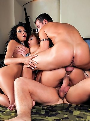Quartet orgy action by gorgeous blonde and a brunette girls